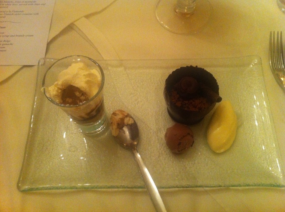 Deserts – coffee ice-cream with brandy cream, Trio of chocolate ...
