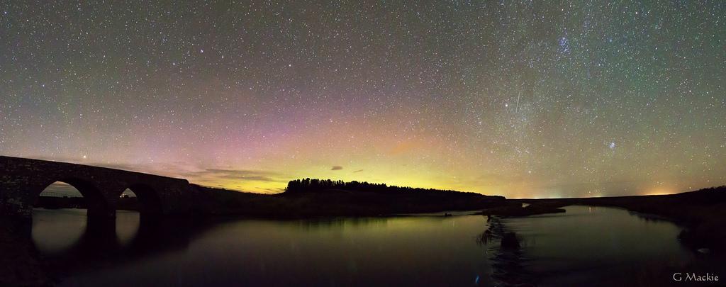 River Thurso Panorama with Aurora. Image: Gordon Mackie, Caithness Astronomy Group