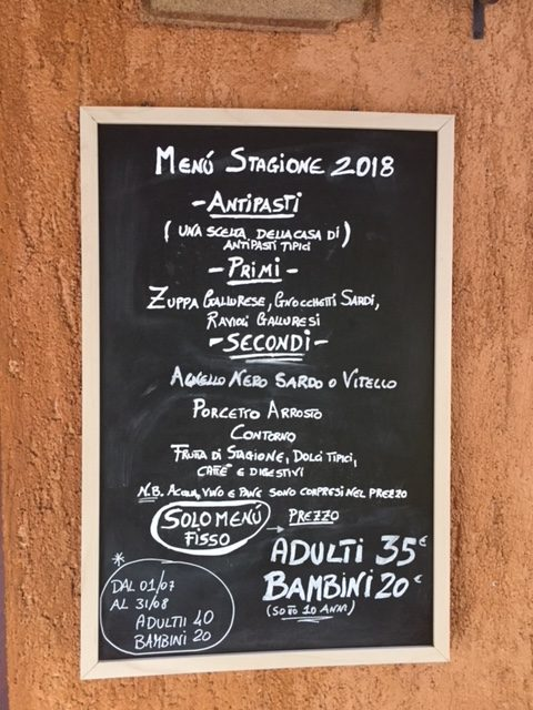 The menu board at Muru Idda