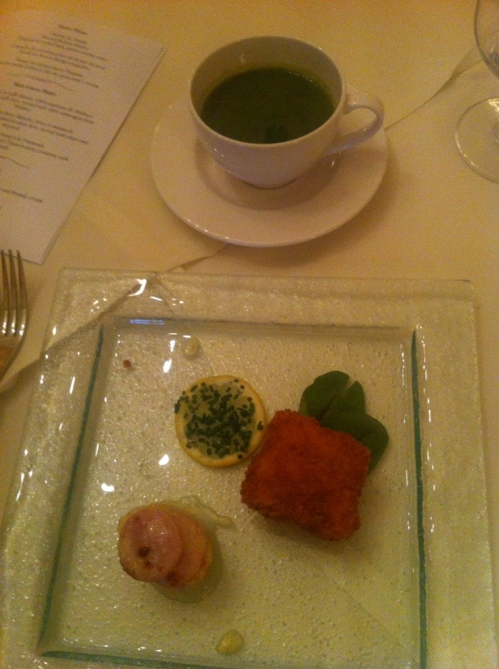Starters (from top) Cream of Chervil Soup, North Sea Brown Shrimp Croquettes, Braised Endive