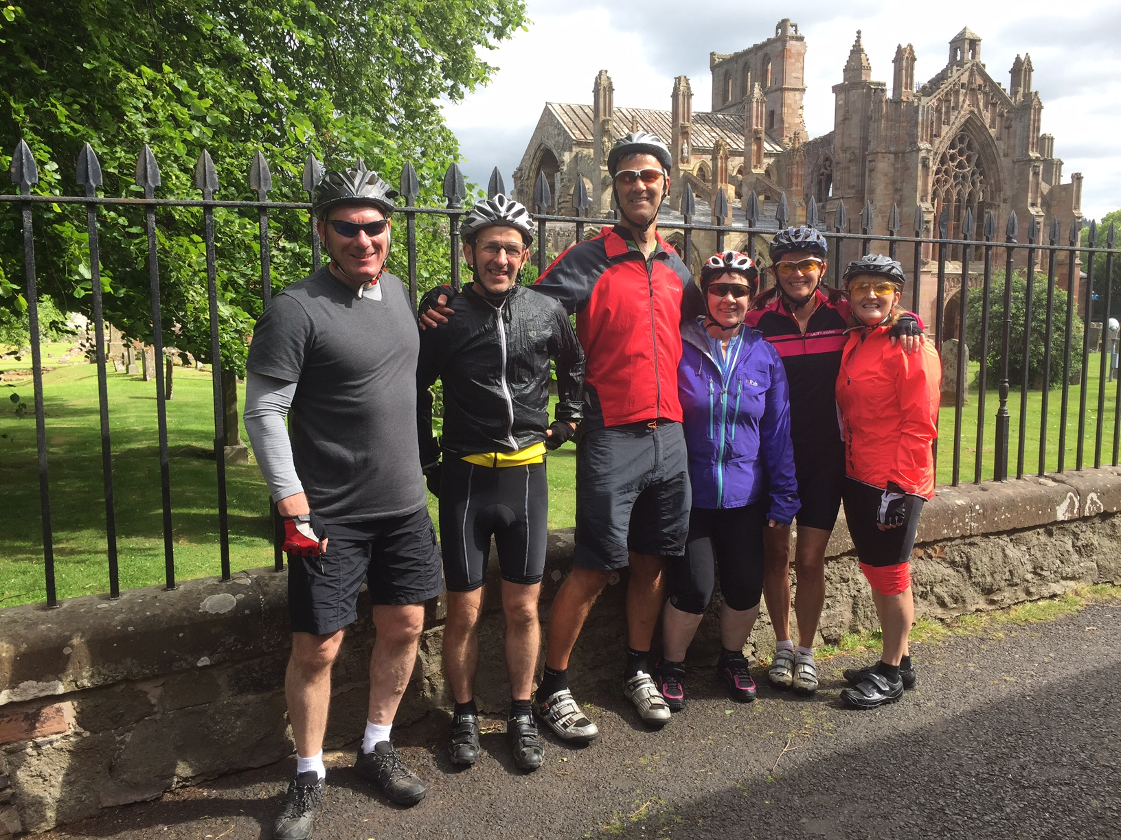 The team looking fresh outside Melrose Abbey